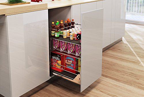 The pull out drawer is the same height as a counter cupboard. Usually 400mm wide with three internal shelves which are accessed from the side.