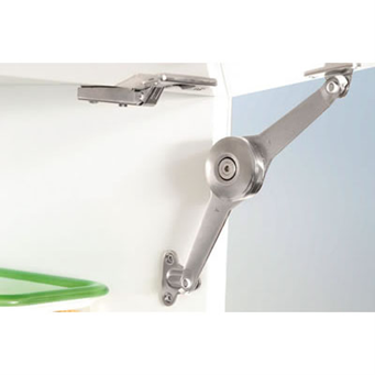 A hinge that is attached to the inside edge of a wall hung cupboard and to inside edge of th e door flap which allows the door to up and hold its position. The open door to be sufficiently high above the floor level to avoid knocking your head on it.