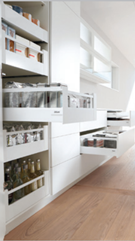 Image shows full height kitchen cupboard with five pull out shelf which allow light to fall on the contents and better access to items at the back of a shelf
