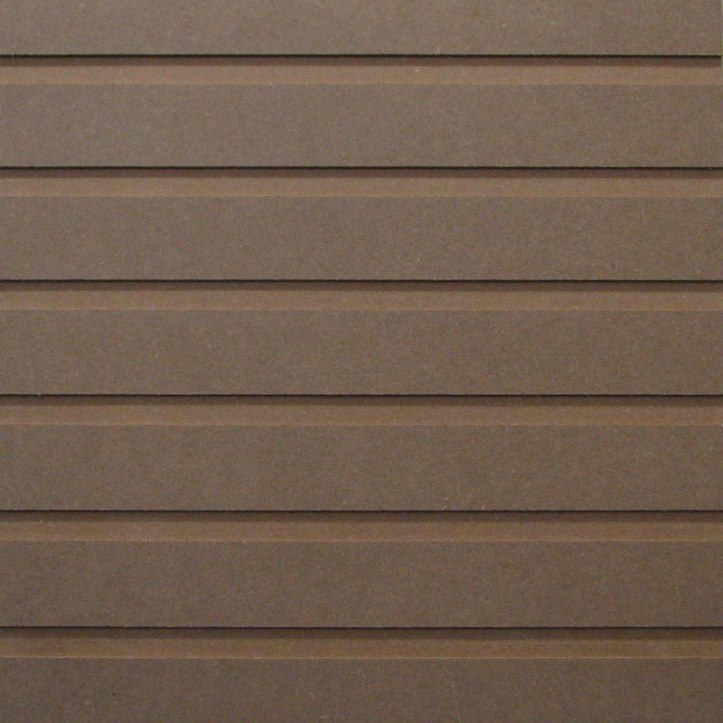 A linear pattern with wide flat, raised stripe with a narrower recessed router cut out on either side. The image has six linear recessed lines.