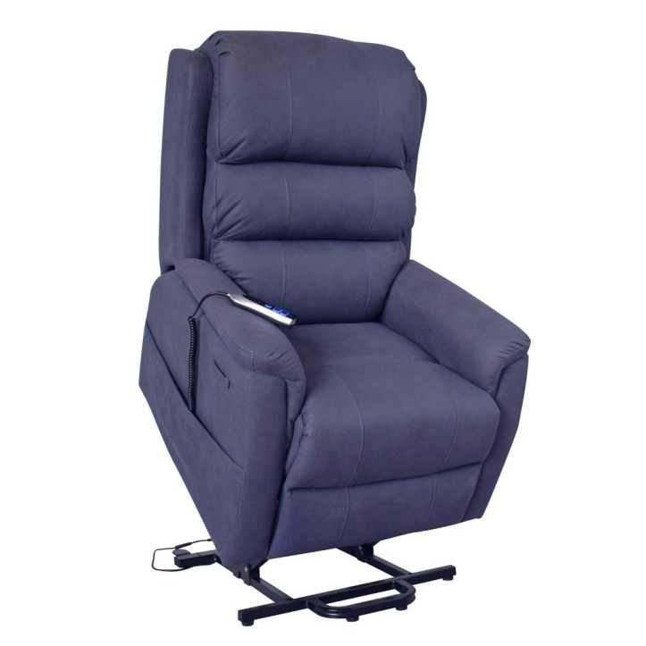 Image shows a reclining chair in an extended up right position to assist the sitter with action of standing up from the chair. The chair is upholstered and finished in a blue fabric
