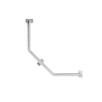 The grab rail from the top of the image extends down vertically, the bends in a 45 degree angle to the left. A second 45 degree shapes the third part of the rail into a horizontal position. The rail has three points where it is attached to the wall.