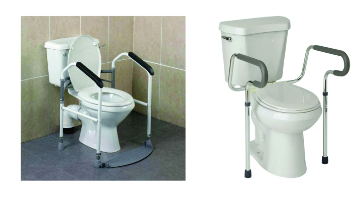 There are two images. The one on the left shows a set of handles adjacent to a toilet. The feet of the handles rest on the floor with a small rubber mat on the floor. The handles are joined together by a back bar. infront of the cistern and behind the toilet seat. The image on the right follows the same principles with only two legs as apposed to four in the left hand image.