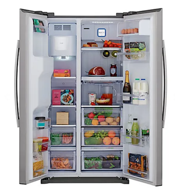Floor standing unit with freezer on the left and fridge on the right. There are two pull out drawers at the bottom of the freezer and three pull out drawers at the bottom of the fridge.