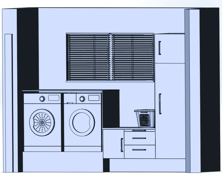 Image shows elevation of laundry area, from left to right: tumble dryer, washing machine, lower height cupboard and two drawers with an additional pull-out surface. The lower height is used to hold wash basket.