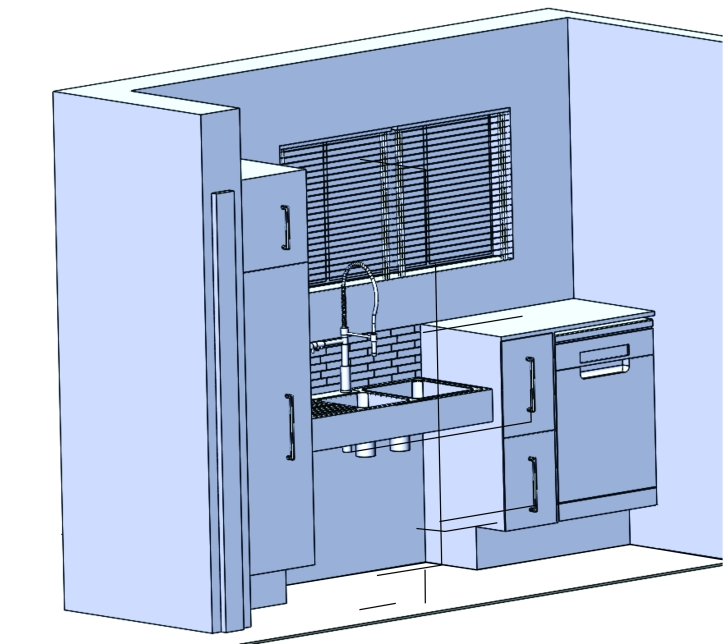 Image shows elevation of sink area, from left to right: broom cupboard, height adjustable double bowl sink, double bin unit and dishwasher.