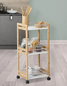 The image shows a smaller three shelfed trolley with supporting bars to reduce items falling off the trolley when being moved.